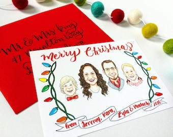 Custom Illustrated Family Portrait Christmas Cards - Digital File Only - Custom Family Portrait, Custom Drawn Portrait, Family Illustration