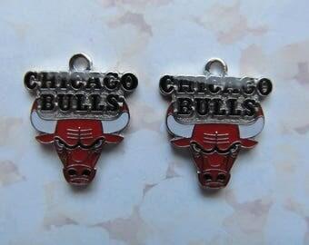 Chicago Bulls Logo NBA Basketball Dangle Charms - 2pcs
