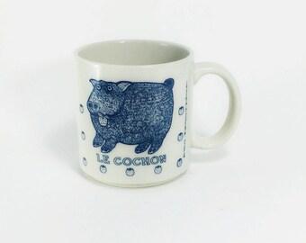 vintage Taylor & Ng 1984 Le Cochon MUG San Francisco, vintage blue/white pig mug cup, collectible Taylor Ng, Made in Japan, pig collectible