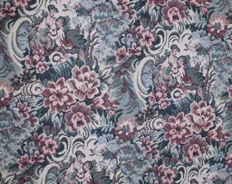 8 Yards ROMANTIC FLORAL TAPESTRY Upholstery Fabric 505 Victorian Sofa Blue Kimball