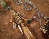 Silver, Gold, and Mossy Green Inspired Necklace