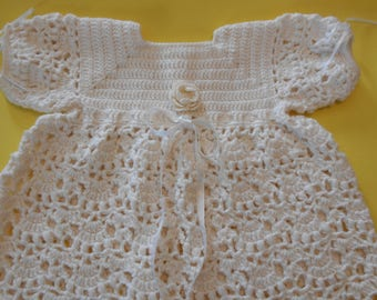 Crochet Christening Gown  Baby Dedication Baptism Blessing  Dress Set Includes Bonnet and Booties in Soft White  Size 6 to 12 Months