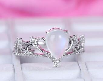6x8mm Pear Cut Moon Stone Engagement ring/14k white gold diamond band/Halo Stackable/Bridal Wedding ring/Filigree/Milgrain edge/Vintage band
