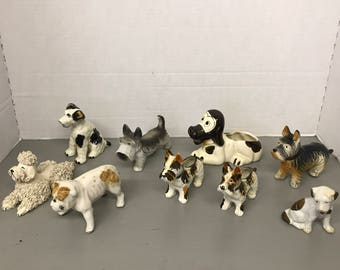 Set of 9 Vintage Porcelain/Ceramic Dogs made in Japan
