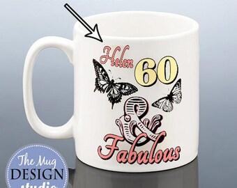 60th Birthday 60 & Fabulous Personalised Mug Butterfly BIRTHDAY GIFT 1957 Gift for her Present Friend Mum Mom Nan Women Ladies Coffee Mug