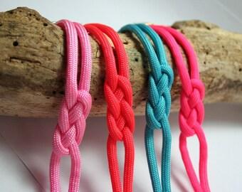 Coral pink simple rope knot bracelet