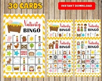 Printable 30 Nativity Christmas Bingo Cards; printable  Church Christmas Bingo game, Religious printable bingo cards instant download