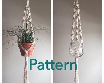 "Pattern pdf DIY Macramé Hanger Single ""Lyric in Ivory"" Beginner Basic Instructions Macrame Fiber Arts Pattern Only"
