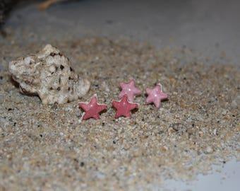 Ceramic pink stars earrings