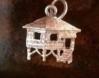 Vintage sterling silver grass hut on stilts bungalow tiki hut charm necklace pendant or keychain charm