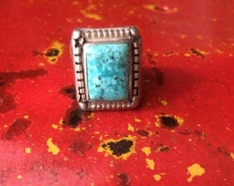 Ethnic silver and turquoise ring, vintage, oriental