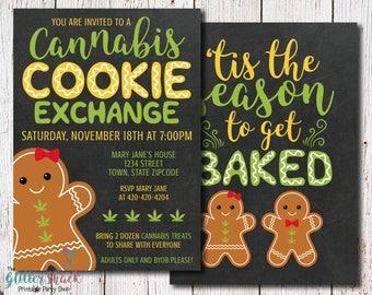 Cannabis Cookie Exchange Invitation, Cannabis Cookies, Marijuana Cookies, Cannabis Edibles, Weed Cookies, Adult Party, Christmas Party