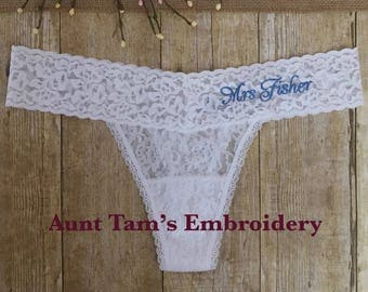 Personalized Bridal Lace Thong, One Size Fits Most, White or Black Thong, Honeymoon Gift, Bridal Shower,