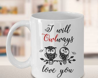 Cute Owl Love Mug - Valentine Gift - Anniversary Present - I Will Owlways Love You - Husband, Wife, Boyfriend, Girlfriend