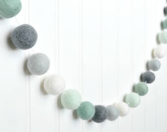 Mint Nursery Decor, Mint and Gray Nursery Wall Art, Mint and Grey Felt Ball Garland, Baby Boy Nursery, Mint and White Baby Shower Garland