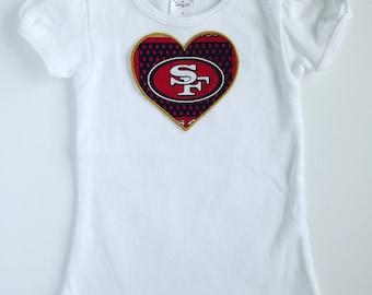 Toddler Girl San Francisco 49ers Heart Shirt Short Sleeve