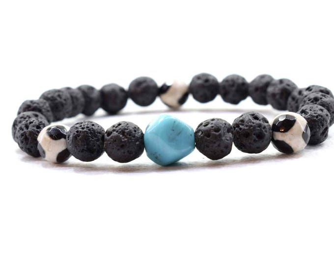 Men's Bracelet with Black Lava, Tibetan Agate, and Bali Turquoise beads.