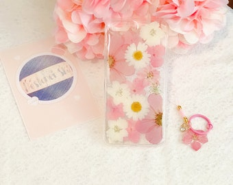 Handmade pressed flowers Silicone soft case for iphone 7 plus iphone 8 plus case for iphone 7 / 8 case cover pink pressed flowers new style