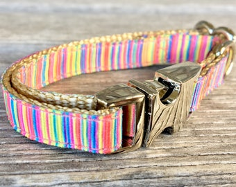 """Mermaid Hair Teacup Dog Collar, Rainbow Puppy Collar, 3/8"""" Wide Dog Collar, Colorful Teacup Dog Collar"""