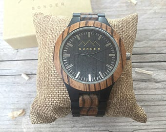 Wooden Watch by S O N D E R. Mens Wood watch, Bespoken Wooden Watches for men. Mahogany and Sandalwood Gents Watch
