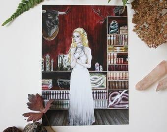 Art drawing print, Postcard, illustration enchantment Moonstone