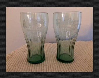 Pair of Limited Edition COCA-COLA Cracker Barrel Large Etched Logo Glasses-Great Condition