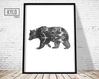 Bear Print, Nature Art, Animal print, Wall Art Print, Abstract poster, Nature Photography, Nature print, Wanderlust, Modern Art, Bear Art
