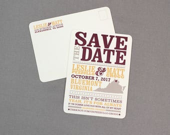 Virginia Hatch Show Inspired Save the Date Postcards - JA1