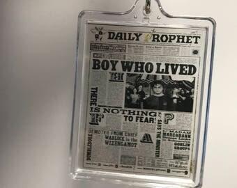 Harry Potter Daily Prophet Clear Transparent Acrylic Keychain Acrylic Keyring