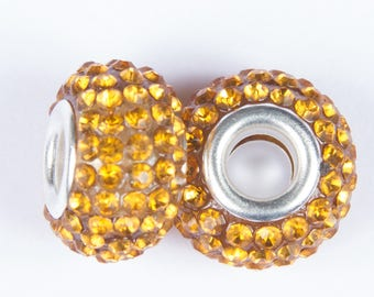 style 2 beads ocher European o15 with crystals