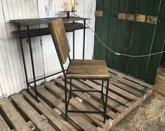 Steel and wood, industrial style Chair