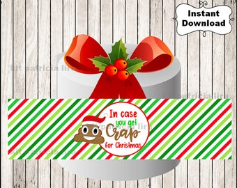 Toilet Paper Gag Gift - In Case You Get Crap for Christmas - gift tag - Instant Download