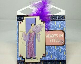Female Art Deco Easel Birthday Card - luxury personalised unique custom UK - Mum/Grandma/Daughter/Aunt/Niece/Sister