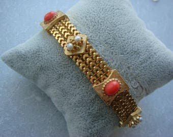 Vintage Faux Coral & Faux Pearl Bracelet,Gold Tone Bracelet