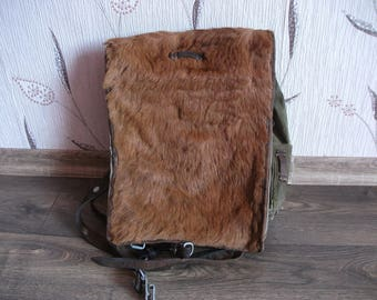 Vintage military cow Fur Backpack, Old Military backpack, Military backpack 1930s, Army backpack, Military backpack