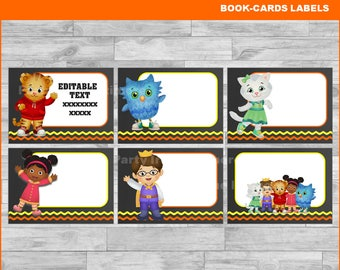Daniel tiger's Printable Cards, tags, book labels, stickers, kids cards, gift tags, labeling, scrapbooking EDITABLE INSTANT DOWNLOAD