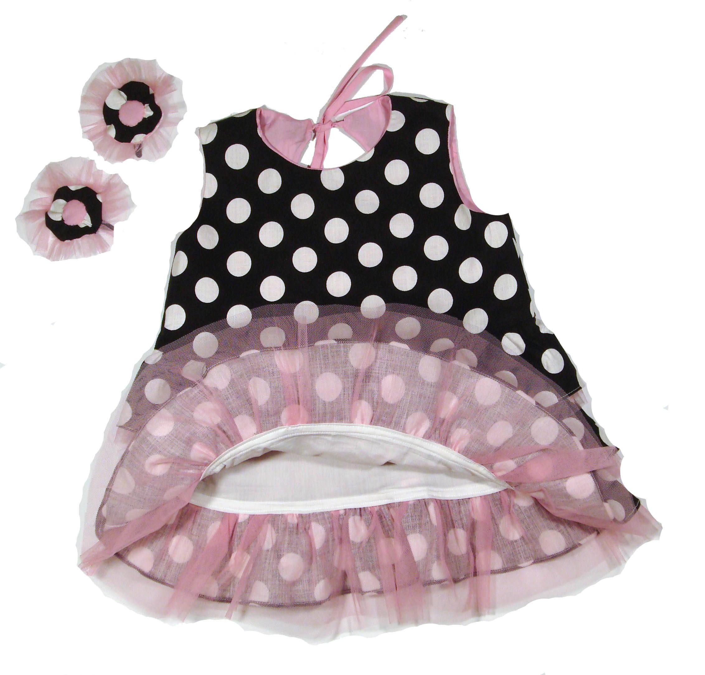 Dress Baby Girl Linen Dress Baby Girls black and white polka dot