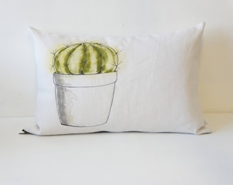 Removable vintage fabric issued from recycled vintage linen rectangle pillow painted and embroidered by hand with a cactus pattern