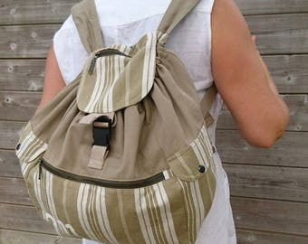 Khaki canvas backpack and real ticking vintage large size