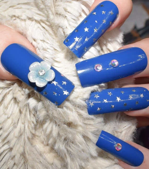 Blue Fake Nails, Extra Long False Nails, Hand Painted ...