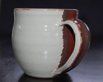12 oz hand thrown coffee mug - eggshell and red