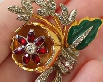1930s Coro quivering Camellia dress/fur clip, 1/2 Duette brooch!