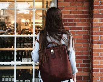 LEATHER BACKPACK, backpack with metal frame, backpack business style, backpack casual style, brown leather backpack, unique backpack