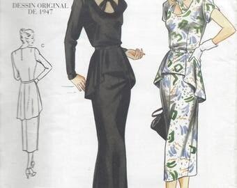 1947 Vintage VOGUE Sewing Pattern B34″- 36″-38″ DRESS (R394) By VOGUE 2495