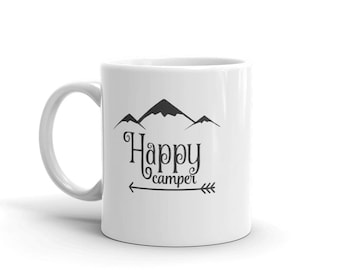 Happy Camper Coffee Mug Tea Cup Campfire Camping Travel Wanderlust Traveler Nomad