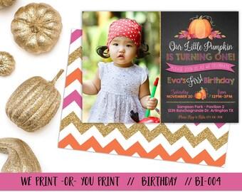 Little Pumpkin Invitation, Pumpkin Invitation, Fall Birthday Invitation, Pumpkin First Birthday, Pumpkin 1st, Girl Pumpkin Invite
