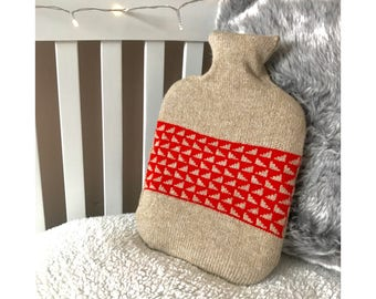 Scarlet Oatmilk Triangle Design Hot Water Bottle Cover Knitted in Supersoft Lambswool