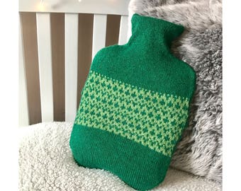 Green Apple Pebble Design Hot Water Bottle Cover Knitted in Supersoft Lambswool