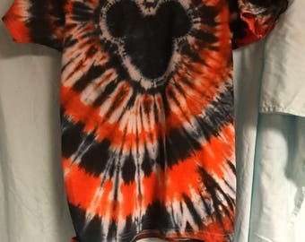 Tie Dye T-shirt - Mickey Mouse - Orange Black Adult or Child Boy or Girl Any Size Available Spiral Disney World Halloween Spiral