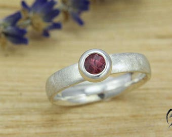 Ring Silver 925/-with pink tourmaline